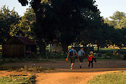 Reinard (Left), Tiaan (Center) and Macyla (Right) go walking to the public school nearby.