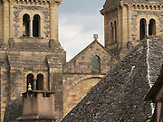 Sainte Foy Abbey church in Conques was started in 1031 on top of the foundations of a smaller basilica. It is in Romanesque style and built from the local warm-coloured limestone and schist. It was a popular stopping place with Medieval pilgrims and remains popular with today's walkers.