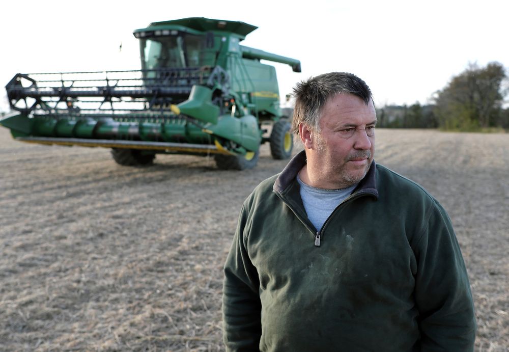 Kevin Brewer talks after harvesting soybeans Oct. 25, 2018, on his Brewer family farm in Bangor, Pennsylvania. Recent retaliatory tariffs implemented by China on grain exports, including soybeans which are the top agricultural export in the United States, are hurting farmers in Pennsylvania.