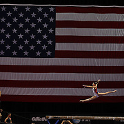 Gymnast Kyla Ross in action on the beam during a final training session before the start of The 2013 P&G Gymnastics Championships, USA Gymnastics' national championships which runs from Thursday until Sunday at the XL, Centre, Hartford, Connecticut.<br /> The event features gymnasts in both the junior and senior divisions. Performances will determine all-around and individual event national champions, as well as the national team for the junior and senior elite levels. Hartford, Connecticut, USA. 14th August 2013. Photo Tim Clayton