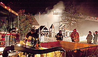 Herbert barn fire on Hoyt Road in Gilford, NH  Thursday evening.  (Karen Bobotas/for the Laconia Daily Sun)
