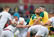 England No.8 Zach Mercer  feeds the ball to second-row Stanley South during the World Rugby U20 Championship  match England U20 -V- Australia U20 at The AJ Bell Stadium, Salford, Greater Manchester, England on June  15  2016, (Steve Flynn/Image of Sport)