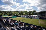 Marcel Granollers of Spain serves during the Men's Singles Quarter Final at the Fuzion 100 Ilkley Lawn Tennis Trophy Tournament held at Ilkley Lawn Tennis and Squad Club, Ilkley, United Kingdom on 19 June 2019.