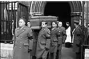 The State Funeral of Sir Alfred Chester Beatty. The remains are carried from St. Patrick's Cathedral on the shoulders of Military N.C.O.s. The coffin is bound for Glasnevin Cemetery..29.01.1968