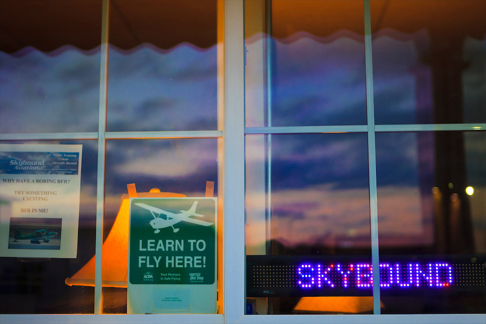 Window at Skybound Aviation Flight School, DeKalb Peachtree Airport (PDK), Atlanta.