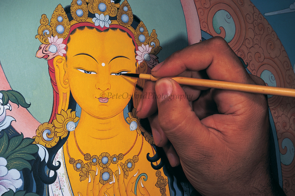 G. Purevbat - Buddhist Artist<br /> and Monk painting Thangka<br /> Mongolian Center of Buddhist Art<br /> Ulaanbaatar<br /> Mongolia
