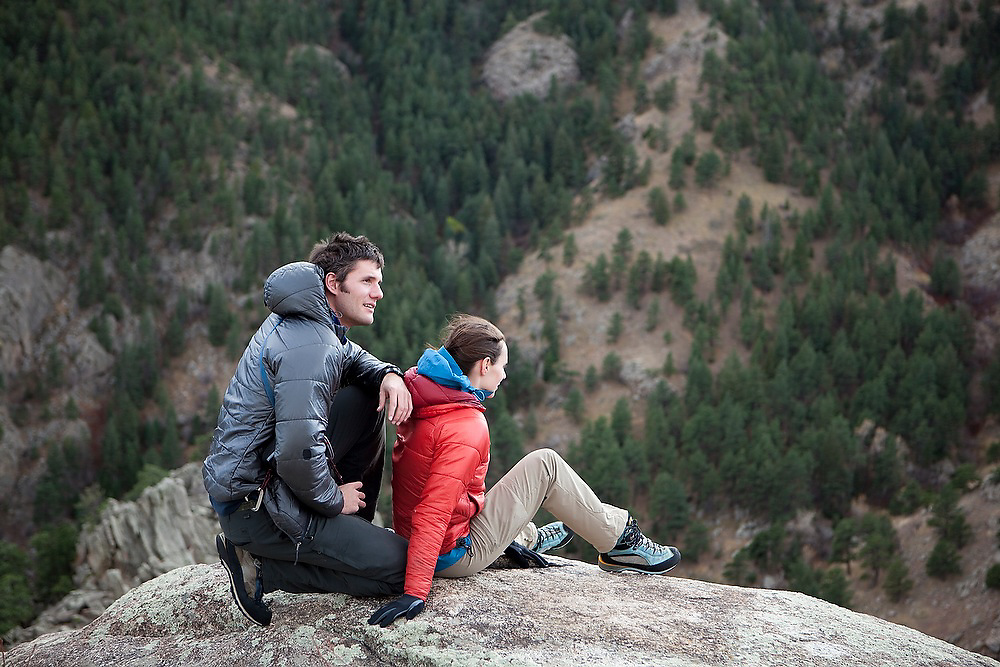 Obadiah Reid and Grace Marx relax and enjoy the view from the top of The Dome in Boulder Canyon near Boulder, Colorado.