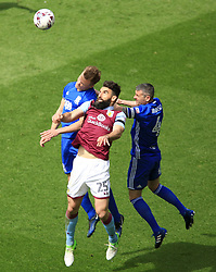 23 April 2017 - EFL Championship Football - Aston Villa v Birmingham City - Mile Jadinak of Aston Villa watches the ball under pressure from Paul Robinson of Birmingam City - Photo: Paul Roberts / Offside