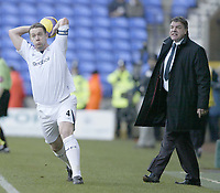 Photo: Aidan Ellis.<br /> Bolton Wanderers v Fulham. The Barclays Premiership. 11/02/2007.<br /> Bolton manager Sam Allardyce shouts at Kevin Nolan as he takes a throw in