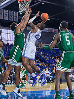 Middle Tennessee Blue Raiders forward Reggie Scurry (22) shoots during the UAB Blazers at Middle Tennessee Blue Raiders college basketball game in Murfreesboro, Tennessee, Saturday, February, 15, 2020. Middle lost 79-66.<br /> Photo: Harrison McClary/All Tenn Sports