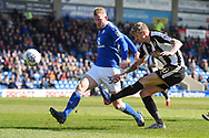 Notts County forward Jonathan Stead (30) shoots at goal during the EFL Sky Bet League 2 match between Chesterfield and Notts County at the b2net stadium, Chesterfield, England on 25 March 2018. Picture by Jon Hobley.