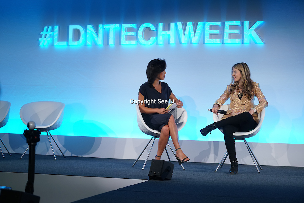 London,England,UK : 20 th June 2016 :  Eileen Burbidge and Beatie Wolfe talks of her new innovation Technology to vher Album and preforms at the London Technology Week 2016 opening press day at The Yard,Worship Street, London. Photo by See Li
