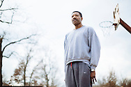 Otto Porter Sr. stands on the makeshift basketball court in Haywood City, Missouri, where his son, sophomore Georgetown basketball player Otto Porter Jr., would practice with relatives.