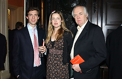 Left to right, DONALD RICE, EVA RICE and SIR TIM RICE at a party to celebrate the publication of Andrew Robert's new book 'Waterloo: Napoleon's Last Gamble' and the launch of the paperback version of Leonie Fried's book 'Catherine de Medici' held at the English-Speaking Union, Dartmouth House, 37 Charles Street, London W1 on 8th February 2005.<br />