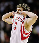 April 16, 2012; Houston, TX, USA; Houston Rockets point guard Goran Dragic (3) reacts to a made shot against the Denver Nuggets during the fourth quarter at the Toyota Center. The Nuggets won 105-102. Mandatory Credit: Thomas Campbell-US PRESSWIRE