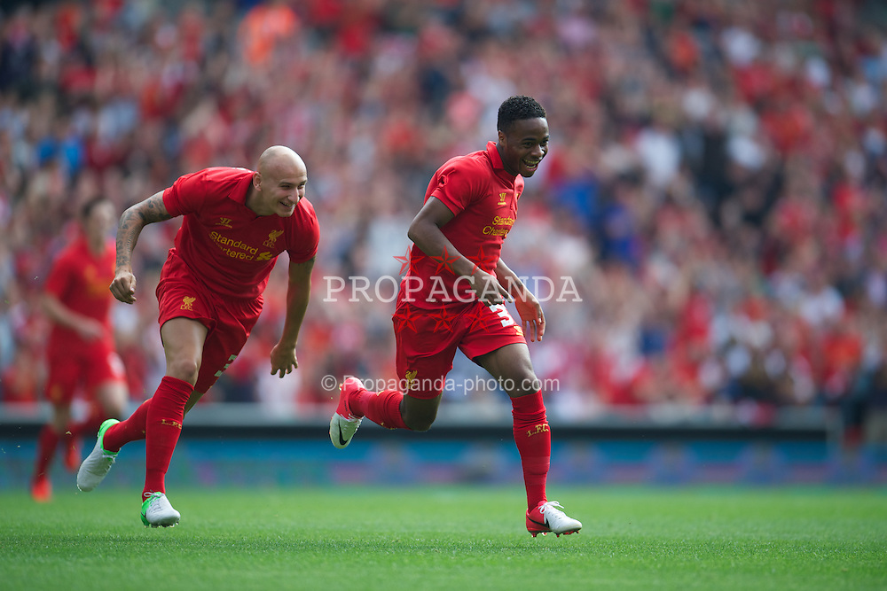 LIVERPOOL, ENGLAND - Sunday, August 12, 2012: Liverpool's Raheem Sterling celebrates scoring the first goal against Bayer 04 Leverkusen during a preseason friendly match at Anfield. (Pic by David Rawcliffe/Propaganda)