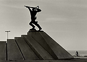 Statue in Durres commemorating the partisan fighters during World War II. Tirana.