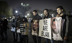 "November 17, 2018 - Washington Dc, DC, US - After a year again people, friends, and BijanÃ•s family gathered in Lincoln Memorial Park for saying that again Ã'Justice for Bijan.Ã"".Bijan was shot on Nov 17, 2017, four times in the head and once in the wrist by two aggressive United States Park Police officers. In Fairfax, Virginia. They stated that those officers had not been identified. Their actions have not been explained, and they have not been charged. Basic answers have not been provided by anyone involved, and justice has not been served. .In this protest, hundreds of people were involved. (Credit Image: © Ardavan Roozbeh/ZUMA Wire)"