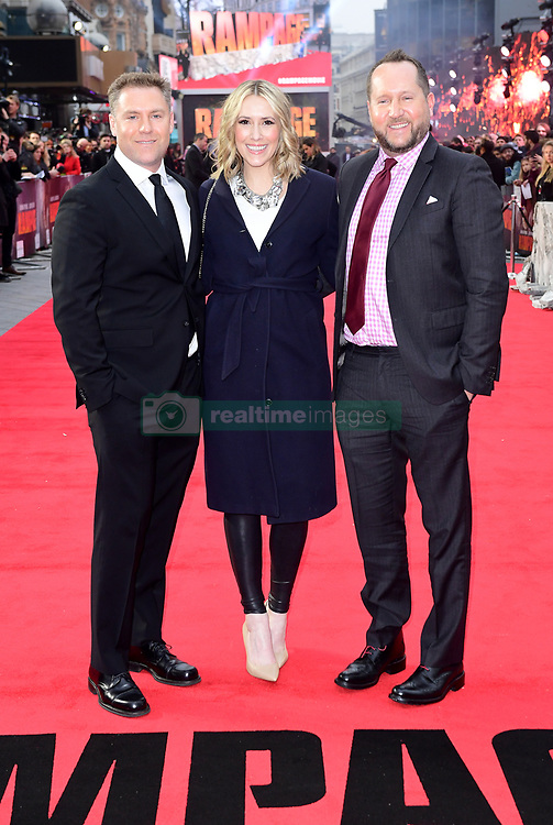 Producers John Rickard, Wendy Jacobson and Beau Flynn attending the European premiere of Rampage, held at the Cineworld in Leicester Square, London