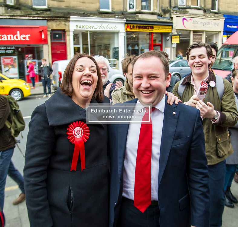 Pictured: Kezia Dugdale was on hand to lend backing to ian Murray's campaign.<br /> <br /> Scottish Labour's Ian Murray and Scottish Labour leader Kezia Dugdale hit the general election campaign trail in Edinburgh today for the first campaign event of Mr Murray's re-election campaign for the Edinburgh South constituency.<br /> Ger Harley | EEm 21 April 2017