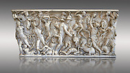 Roman sarcophagus depicting a battle between Achilles and Pentesilea and Amazons, the faces of the deceased have been sculpted over the Greek heroes, circa 230-250 AD, inv 933, Vatican Museum Rome, Italy,  grey background ..<br /> <br /> If you prefer to buy from our ALAMY STOCK LIBRARY page at https://www.alamy.com/portfolio/paul-williams-funkystock/greco-roman-sculptures.html . Type -    Vatican    - into LOWER SEARCH WITHIN GALLERY box - Refine search by adding a subject, place, background colour, museum etc.<br /> <br /> Visit our CLASSICAL WORLD HISTORIC SITES PHOTO COLLECTIONS for more photos to download or buy as wall art prints https://funkystock.photoshelter.com/gallery-collection/The-Romans-Art-Artefacts-Antiquities-Historic-Sites-Pictures-Images/C0000r2uLJJo9_s0c