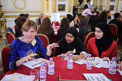 © Licensed to London News Pictures. 17/10/2013 London, UK. BBC presenter Fiona Bruce at a speed networking event  at Lancaster House, London for 100 girls from state secondary schools to launch a national campaign, which will see 15,000 women going into secondary schools to speak to pupils about career choices. Participants also include Miriam Gonzalez Durantez, wife of Deputy Prime Minister Nick Clegg. Photo credit : Simon Jacobs/LNP