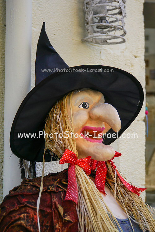 Scarecrow witch with straw hair and a pointy nose