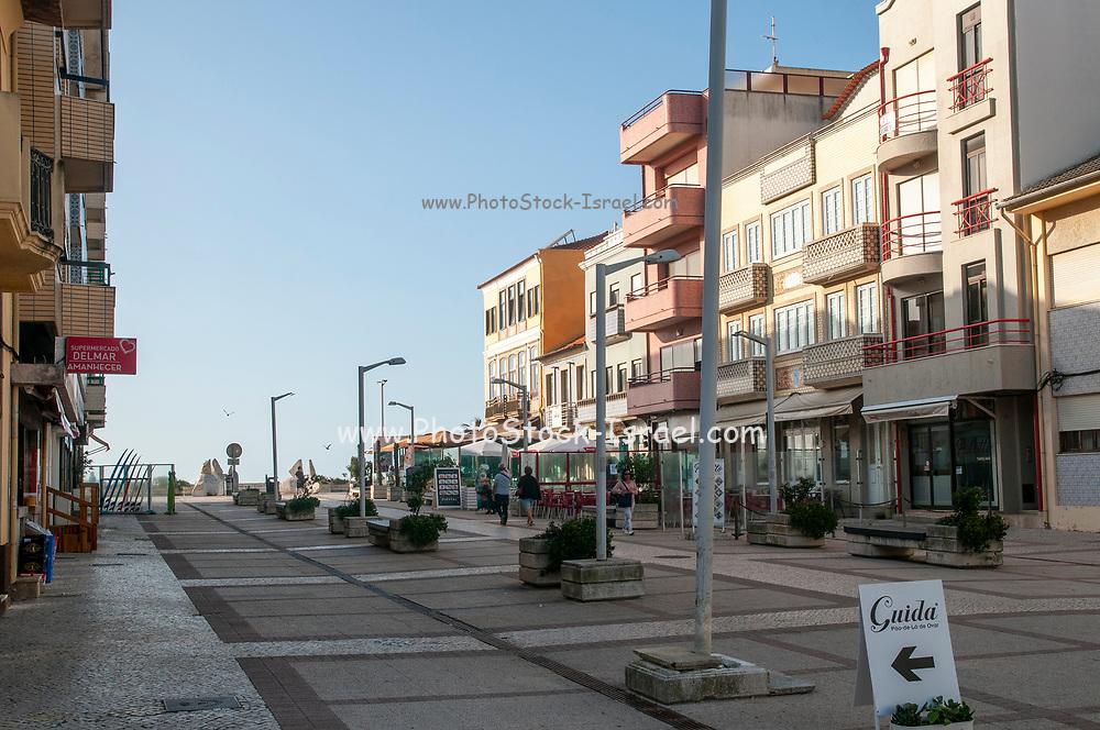 Furadouro beach, Ovar, a small municipality on the Atlantic ocean coast, Portugal The main commercial pedestrian street Avenida dos Bombeiros Voluntarios do Porto
