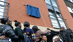 Members of Laurie Cunninghams family unveil a blue plaque on Brisbane Road in memory of the late Laurie Cunningham - Photo mandatory by-line: Mitchell Gunn/JMP - Tel: Mobile: 07966 386802 12/10/2013 - SPORT - FOOTBALL - Brisbane Road - Leyton - Leyton Orient V MK Dons - League One