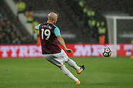 James Collins of West Ham United in action. Premier league match, West Ham Utd v Huddersfield Town at the London Stadium, Queen Elizabeth Olympic Park in London on Monday 11th September 2017.<br /> pic by Kieran Clarke, Andrew Orchard sports photography.