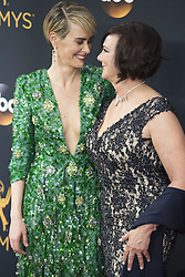September 18, 2016 - Los Angeles, California, U.S. - SARAH PAULSON, left, and MARCIA CLARK arrive for the 68th Annual Primetime Emmy Awards, held at the Nokia Theatre. (Credit Image: © Kevin Sullivan via ZUMA Wire)