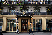 Outside the famous Waldorf Hotel on Aldwych in Covent Garden in the West End of London.