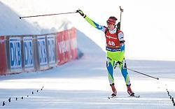 Miha Dovzan (SLO) at finish line during Men 12,5 km Pursuit at day 3 of IBU Biathlon World Cup 2015/16 Pokljuka, on December 19, 2015 in Rudno polje, Pokljuka, Slovenia. Photo by Vid Ponikvar / Sportida