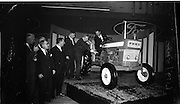 26/11/1964.11/26/1964.26 November 1964.Presentation of new Ford tractors at the Intercontinental Hotel, Dublin. Minister for Lands MrMiceal O'Moran tryig out the Ford Major 4000 watched by L-R: Mr T.J. Brennan, managing Director Henry Ford and Sons Ltd Cork, Prof. J.B. Ruane, Mr T. O'Brien, Secretary Department of Lands and Mr. G.F. McGovern, Tractor Manager, Tractor Operations Henry Ford and Sons Cork.