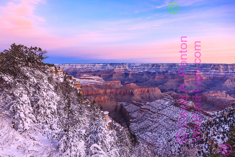 Sunrise light, Grand Canyon with fresh snow  on the north and south rims, high mesas and formations, Grand Canyon National Park, © David A. Ponton