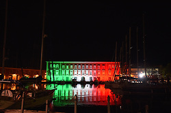 Lights with Italian flag colors are projected onto the Military Navy building during the Coronavirus pandemic. on April 26, 2020 in Naples, Italy. Photo by Felice De Martino/Eyepix/ABACAPRESS.COM