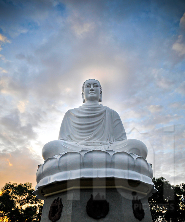 Low angle of large Buddha statue in Nha Trang, Vietnam, Southeast Asia