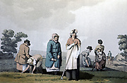 Lowkers - women who weeded corn. From George Walker 'The Costume of Yorkshire' Leeds 1814. Aquatint