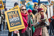 'Walk in Her Shoes' a mother's day march in solidarity with women and girls around the world and in advance of International Womens Day this week - CARE International's Walk In Her Shoes event led by Helen Pankhurst, her 21-year old daughter Laura Pankhurst, music legend Annie Lennox, Bianca Jagger, comedian Bridget Christie, Secretary of State for International Development Justine Greening, London Mayoral candidates Sadiq Khan and Sophie Walker and a group of 'Olympic Suffragettes' in Edwardian clothing with banners. They were also joined by Sister Sledge.