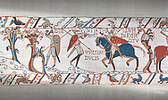 Bayeux Tapestry scene 50:  A saxon watchman warns of the approaching Norman army. .<br /> <br /> If you prefer you can also buy from our ALAMY PHOTO LIBRARY  Collection visit : https://www.alamy.com/portfolio/paul-williams-funkystock/bayeux-tapestry-medieval-art.html  if you know the scene number you want enter BXY followed bt the scene no into the SEARCH WITHIN GALLERY box  i.e BYX 22 for scene 22)<br /> <br />  Visit our MEDIEVAL ART PHOTO COLLECTIONS for more   photos  to download or buy as prints https://funkystock.photoshelter.com/gallery-collection/Medieval-Middle-Ages-Art-Artefacts-Antiquities-Pictures-Images-of/C0000YpKXiAHnG2k