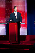 Rick Santorum..Eight republican candidates for US President face off at a debate held at the Ronald Reagan Library. The debate was sponsored by NBC News and POLITICO, and was moderated by Brian Williams, anchor of NBC Nightly News.