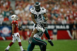 18 Jan 2009: Philadelphia Eagles defensive end Chris Clemons #91 celebrates with defensive end Victor Abiamiri #95 after a play during the NFC Championship game against the Arizona Cardinals on January 18th, 2009. The Cardinals won 32-25 at University of Phoenix Stadium in Glendale, Arizona. (Photo by Brian Garfinkel)