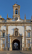 Neoclassical architecture of the Arco da Vila built after the 1755 earthquake by order of Bishop Francisco Gomes, city of Faro, Algarve, Portugal, Europe a gateway into the  medieval Old Town called the Cidade Velha