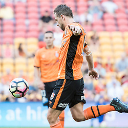 BRISBANE, AUSTRALIA - OCTOBER 30: Brett Holman of the roar kicks the ball during the round 4 Hyundai A-League match between the Brisbane Roar and Perth Glory at Suncorp Stadium on October 30, 2016 in Brisbane, Australia. (Photo by Patrick Kearney/Brisbane Roar)