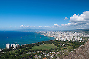 A voew of Waikiki and Honolulu from the top of Diamond Head Crater on Oahu, Hawaii.