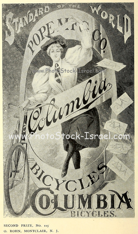 2nd Prize by O. Rohn, Montclair, NJ Exhibition of Columbia bicycle art poster designs by Pope Manufacturing Company, Boston in 1896. These posters were entered into a competition held by the bicycle manufacturer to find new ideas for adverts. First prize was 1 bicycle and 250$ in Cash. Second place was 1 bicycle and 50$ in Cash and 3rd place was 1 bicycle and 50$ in cash