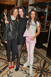 Left to right, LEAH WOOD, AMY MOLYNEAUX and BIP LING at a dinner hosted by Amy Molyneaux and Percy Parker of fashion label PPQ to celebrate the PPQ AW 2015 collection 'Persephone' held at Braserie Chavot, 41 Conduit Street, London on 22nd February 2015.