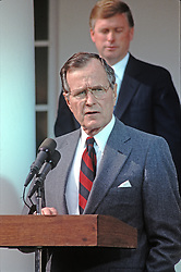 United States President George H.W. Bush reads a statement rejecting the proposed Soviet peace agreement to end the Gulf War with Iraq in the Rose Garden of the White House in Washington, D.C. on February 22, 1991. U.S. Vice President Dan Quayle stands behind the President.<br /> Credit: Howard L. Sachs / CNP /ABACAPRESS.COM