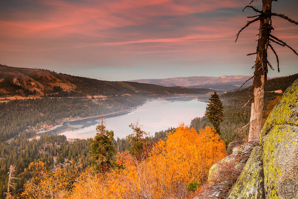 """""""Donner Lake in Autumn 6"""" - Sunset photograph of yellow fall foliage and boulders above Donner Lake in Truckee, California"""