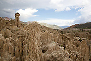 Valley de la Luna, valley of the moon, unusual rock formations that look like a moon landscape on the outskirts of La Paz, capital of Bolivia